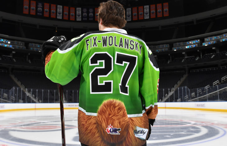 The jersey also featured a teddy bear tail, an Oil Kings tag, and furry teddy bear socks.