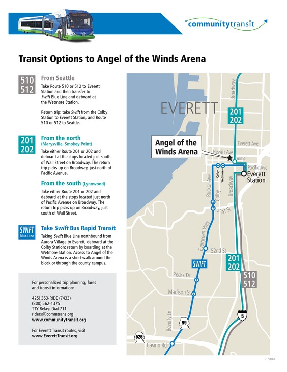 Transit Options to Angel of the Winds Arena-2018
