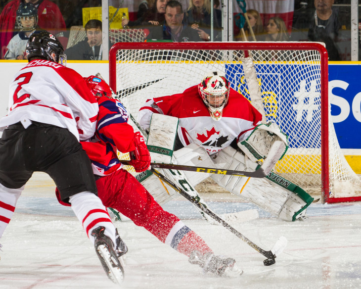 Ian Scott in action during the 2015 World Under-17 Hockey Challenge at the Encana Event Centre in Dawson Creek, BC. (Photo: Dennis Pajot/Hockey Canada Images)