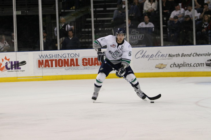 Brenden Dillon on the ice at accesso ShoWare Center.