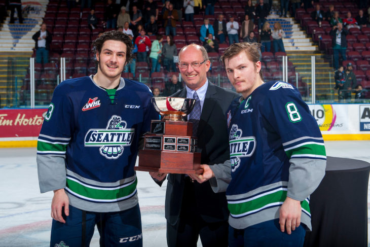 KELOWNA, CANADA - APRIL 30: Mathew Barzal #13, Richard Doerksen and Scott Eansor #8 of the Seattle Thunderbirds stand at centre ice with the Western Conference Championship cup on April 30, 2017 at Prospera Place in Kelowna, British Columbia, Canada. (Photo by Marissa Baecker/Shoot the Breeze) *** Local Caption ***