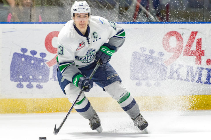Mathew Barzal looking to make a play during the 2016-17 season at accesso ShoWare Center.