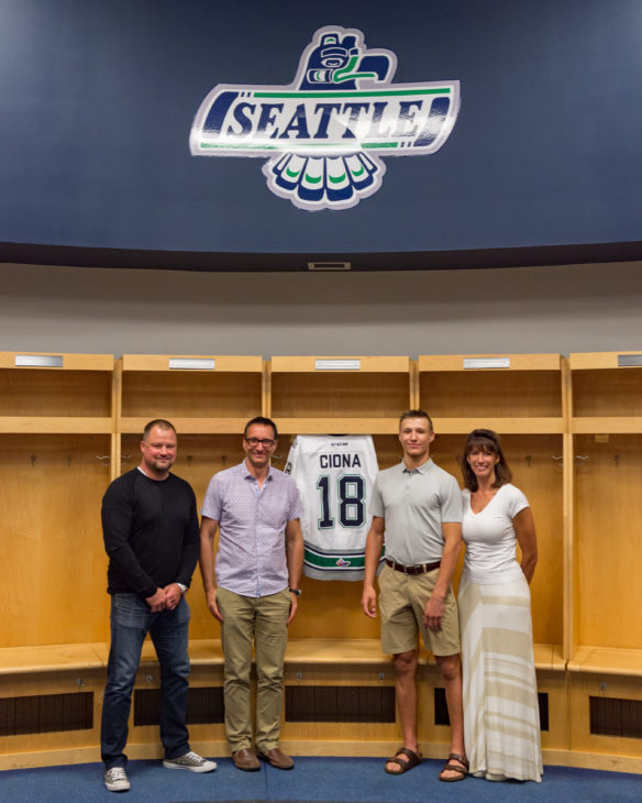 T-Birds co-owner Lindsey Leckelt, Curtis Ciona, Lucas Ciona and Natashia Ciona in the T-Birds locker room prior to Lucas signing with the team.