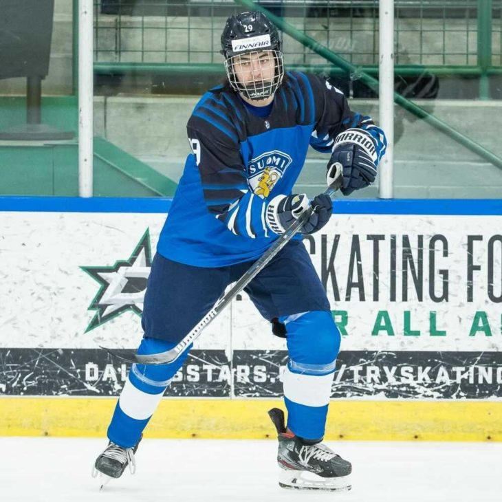 Niko Huuhtanen competing at the U18 World Championships with Team Finland in Frisco, Texas.