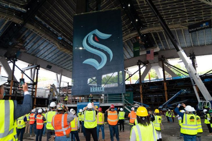 In a historic unveiling at the site of Climate Pledge Arena last summer, the Seattle Kraken were introduced to the world as the NHL's incoming 32nd franchise, to start play this October in the Puget Sound region. (Photo: Seattle Kraken)
