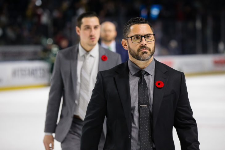 Dennis Williams is 154-52-7-7 (.733 percentage) in his WHL career and has helped mold 11 Tips players in 3 years to sign 3-year NHL contracts or AHL contracts. (Photo by Chris Mast / Everett Silvertips)