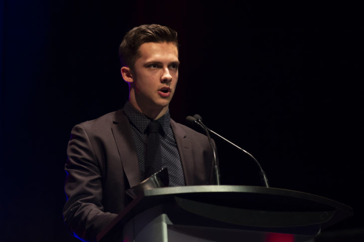 KELOWNA, BC - MARCH 17: Leif Mattson #28 of the Kelowna Rockets gives his acceptance speech after being awarded the Humanitarian of the Year at the annual Kelowna Rockets awards ceremony at Kelowna Community Theatre on March 17, 2019 in Kelowna, Canada. (Photo by Marissa Baecker/Shoot the Breeze)