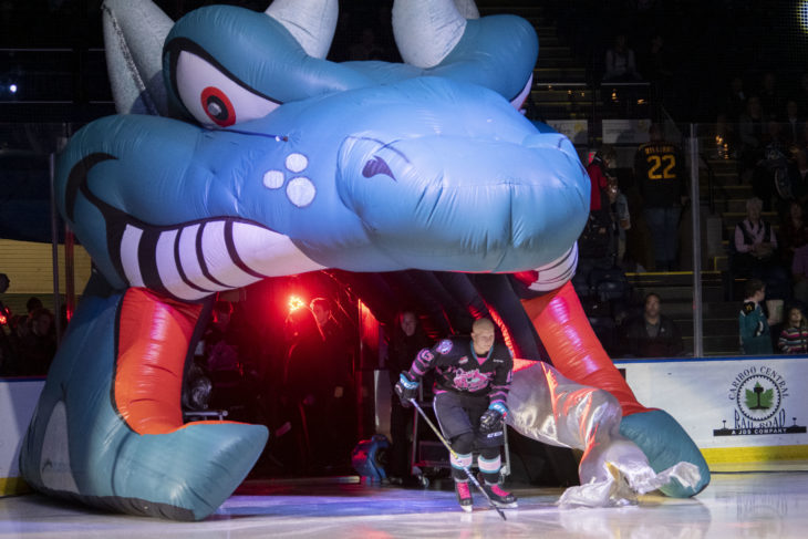 KELOWNA, BC - SEPTEMBER 21: Dallon Wilton #15 of the Kelowna Rockets enters the ice for home opener against the Spokane Chiefs at Prospera Place on September 21, 2019 in Kelowna, Canada. (Photo by Marissa Baecker/Shoot the Breeze)