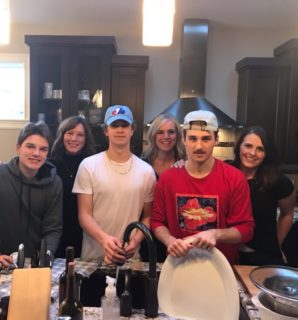Thanksgiving dinner with Ty Nash, billet mom Shannon Stewart, Chase Wheatcroft, Kristen DeMone, Noah Boyko, and billet mom Kerri Lynn Vanderberg.