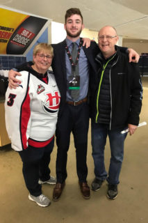 Linda and Kevin with Darian Skeoch at the 2019 University Cup with the Carlteon Ravens