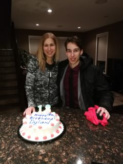 Sue (mom) and Dylan on his 18th Birthday