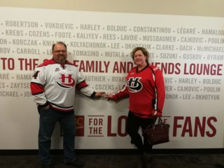 Kevin and Deanna at the CHL Top Prospects game in Red Deer