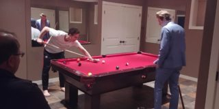 Kevin, Dylan, and Alex playing pool