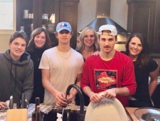 Thanksgiving dinner with Ty Nash, billet mom Shannon Stewart, Chase Wheatcroft, Kristen DeMone, Noah Boyko, and billet mom Kerri Lynn Vanderberg
