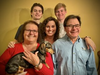 Christmas family photo with Dino and Jett
