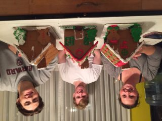 Jess, Jett, and Dino with their gingerbread houses