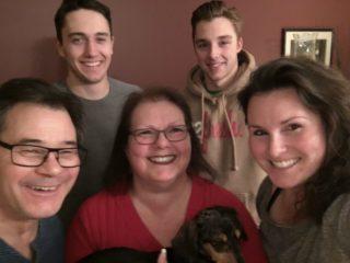 Christmas family photo with Nick and Jake