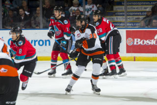 KELOWNA, BC - NOVEMBER 8: Teague Patton #39 of the Medicine Hat Tigers skates against the Kelowna Rockets for his first WHL career game at Prospera Place on November 8, 2019 in Kelowna, Canada. (Photo by Marissa Baecker/Shoot the Breeze)