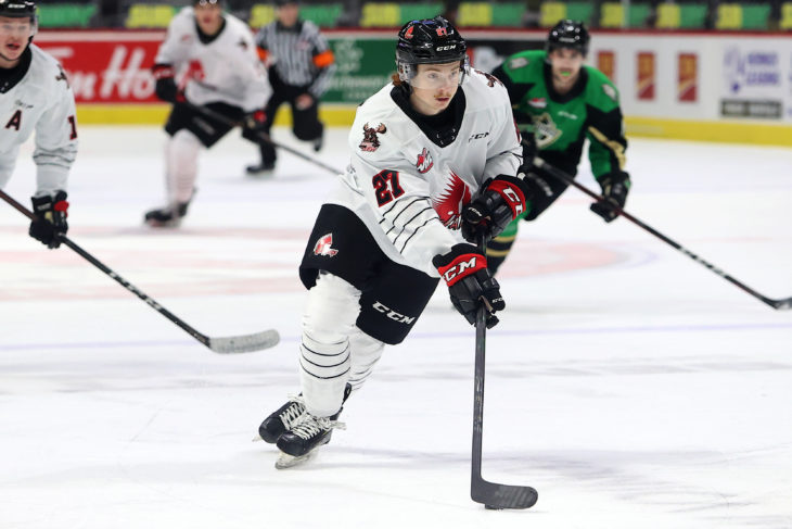 Warriors forward Jagger Firkus carries the puck during action in the Subway WHL Hub last season. (Keith Hershmiller Photography)