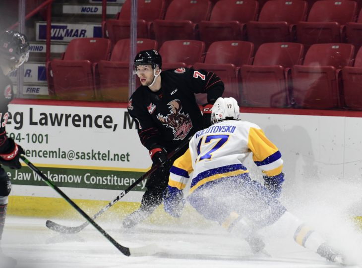 Warriors forward Robert Baco stops quickly against the Saskatoon Blades during Moose Jaw's home opener. (Nick Pettigrew / Moose Jaw Warriors)