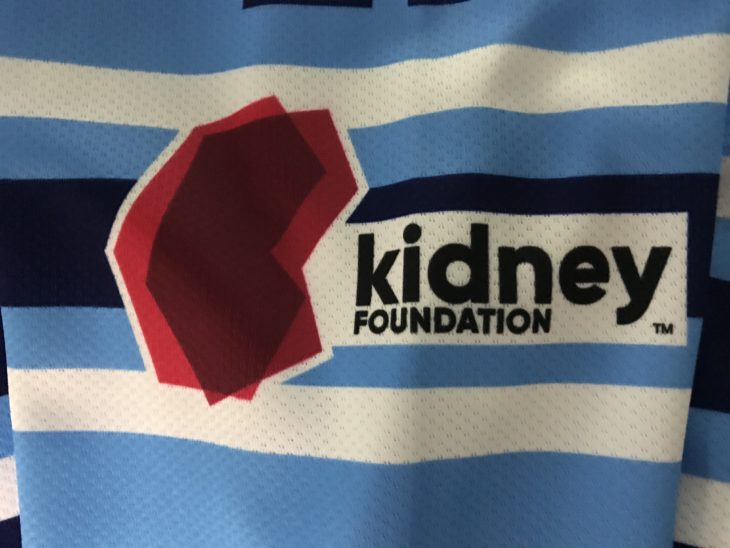 The new Kidney Foundation logo on the sleeve of the jersey