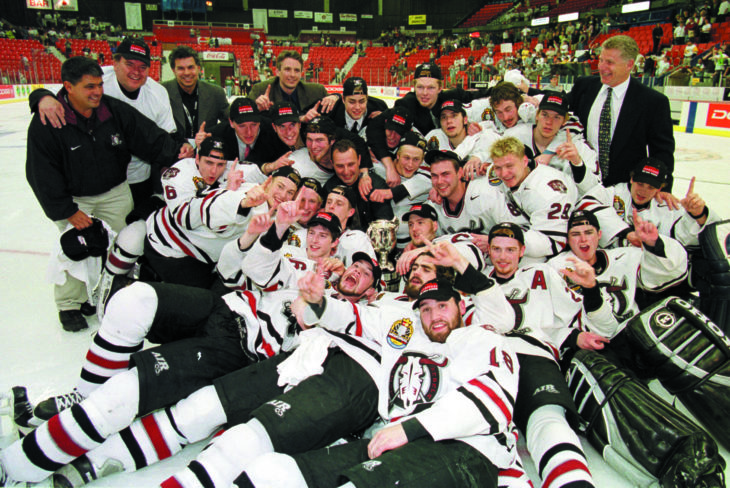The Rebels players and staff pose for the traditional on-ice team portrait following their Memorial Cup win