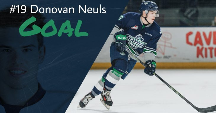 This Donovan Neuls goal graphic by Jade Gilson, a junior at Kentlake High School, was used on the T-Birds social media platforms during the YouTube broadcast of Game 1 of the 2017 WHL Championship.