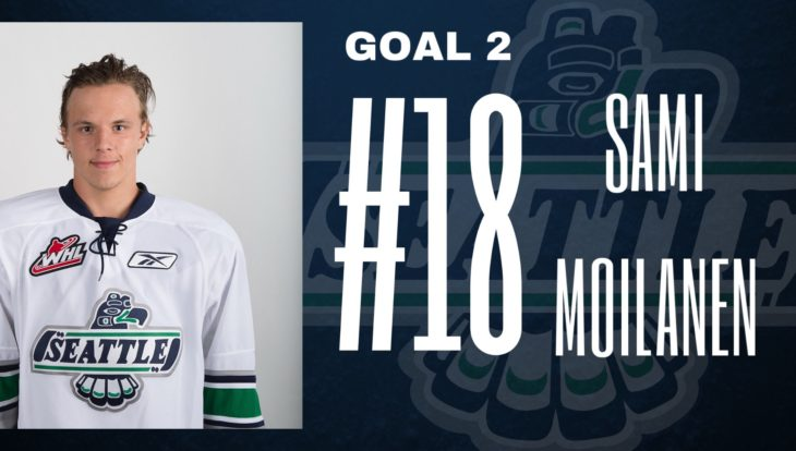 This Sami Moilanen goal graphic by Emma Hartvickson, a senior at Kentlake High School, was used on the T-Birds social media platforms during the YouTube broadcast of Game 4 of the 2017 WHL Championship.