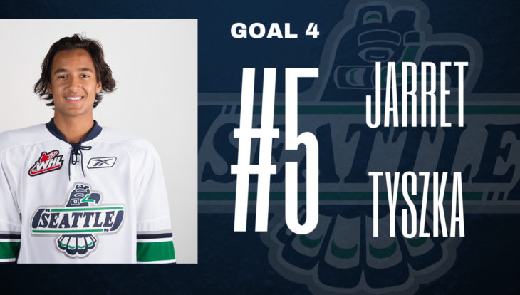 This Jarret Tyszka goal graphic by Emma Hartvickson, a senior at Kentlake High School, was used on the T-Birds social media platforms during the YouTube broadcast of Game 4 of the 2017 WHL Championship.