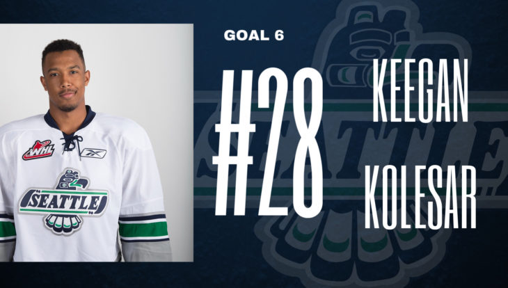 This Keegan Kolesar goal graphic by Emma Hartvickson, a senior at Kentlake High School, was used on the T-Birds social media platforms during the YouTube broadcast of Game 4 of the 2017 WHL Championship.