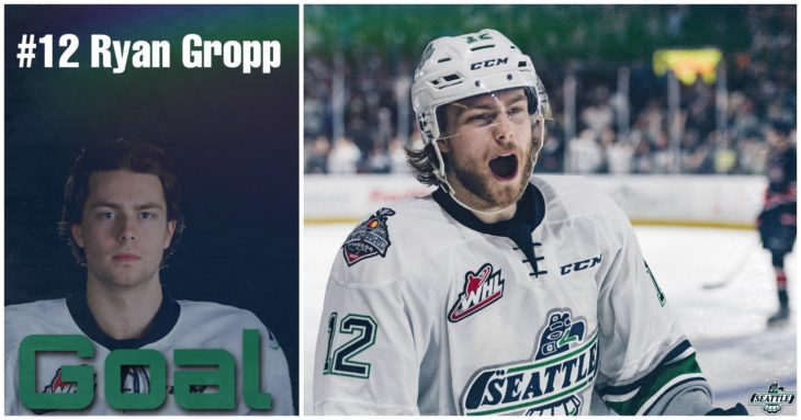 This Ryan Gropp goal graphic by Jade Gilson, a junior at Kentlake High School, was used on the T-Birds social media platforms during the YouTube broadcast of Game 4 of the 2017 WHL Championship.