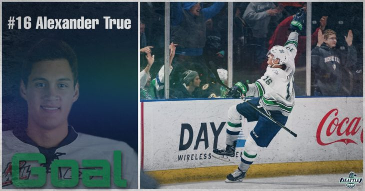 This Alexander True goal graphic by Jade Gilson, a junior at Kentlake High School, was used on the T-Birds social media platforms during the YouTube broadcast of Game 4 of the 2017 WHL Championship.