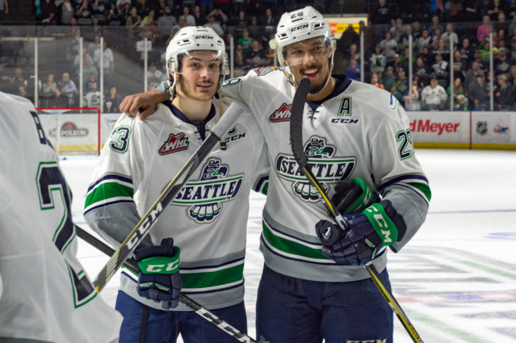 Mathew Barzal and Keegan Kolesar after Game 5, the last game they would play at accesso ShoWare Center.