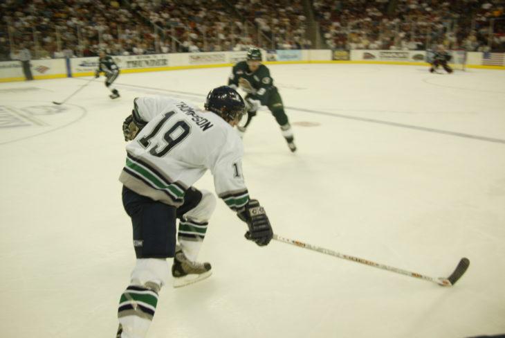 Nate Thompson skates up ice at KeyArena.