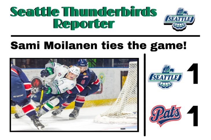 This Sami Moilanen goal graphic by RJ Rico, a sophomore at Kentwood High School, was used on the T-Birds social media platforms during the YouTube broadcast of Game 6 of the 2017 WHL Championship.