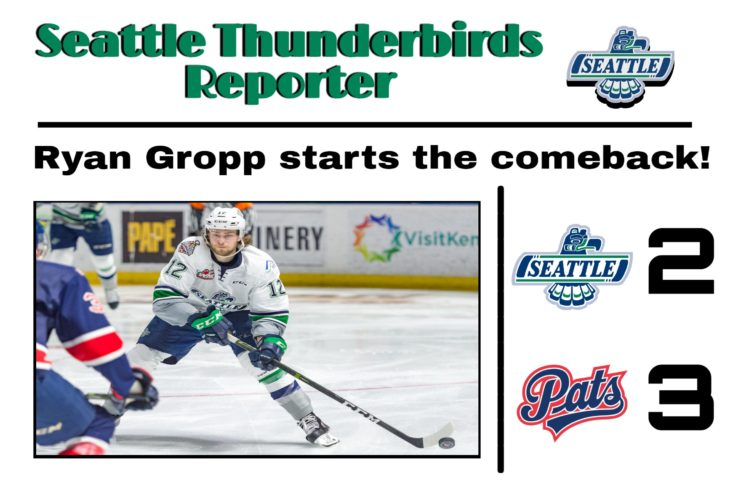 This Ryan Gropp goal graphic by RJ Rico, a sophomore at Kentwood High School, was used on the T-Birds social media platforms during the YouTube broadcast of Game 6 of the 2017 WHL Championship.