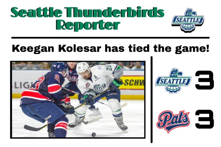 This Keegan Kolesar goal graphic by RJ Rico, a sophomore at Kentwood High School, was used on the T-Birds social media platforms during the YouTube broadcast of Game 6 of the 2017 WHL Championship.