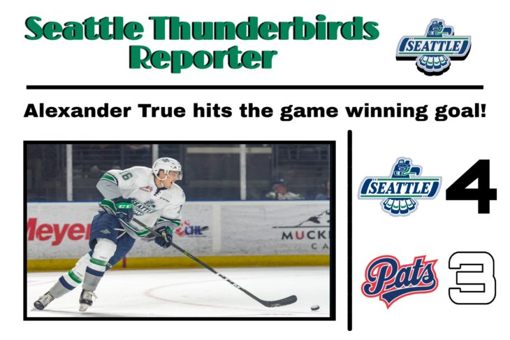 This Alexander True goal graphic by RJ Rico, a sophomore at Kentwood High School, was used on the T-Birds social media platforms during the YouTube broadcast of Game 6 of the 2017 WHL Championship.