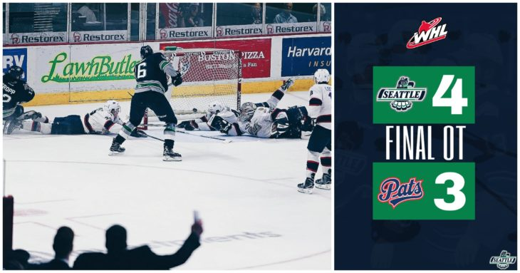 This Alexander True goal graphic by Jade Gilson, a junior at Kentlake High School, was used on the T-Birds social media platforms during the YouTube broadcast of Game 6 of the 2017 WHL Championship.
