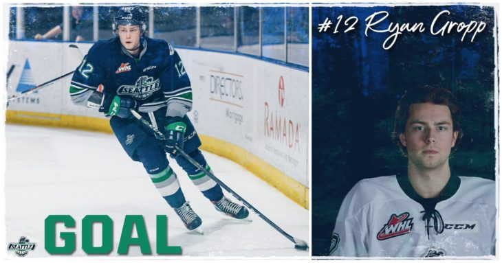 This Ryan Gropp goal graphic by Jade Gilson, a junior at Kentlake High School, was used on the T-Birds social media platforms during the YouTube broadcast of Game 6 of the 2017 WHL Championship.