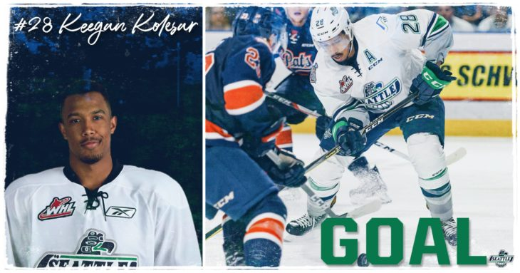 This Keegan Kolesar goal graphic by Jade Gilson, a junior at Kentlake High School, was used on the T-Birds social media platforms during the YouTube broadcast of Game 6 of the 2017 WHL Championship.