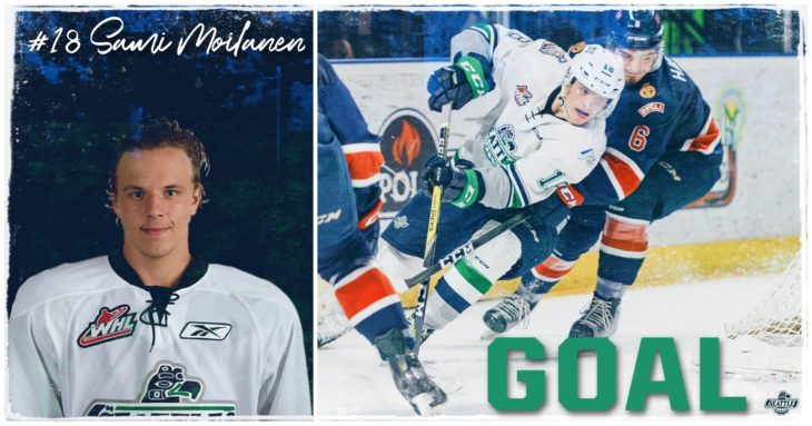 This Sami Moilanen goal graphic by Jade Gilson, a junior at Kentlake High School, was used on the T-Birds social media platforms during the YouTube broadcast of Game 6 of the 2017 WHL Championship.