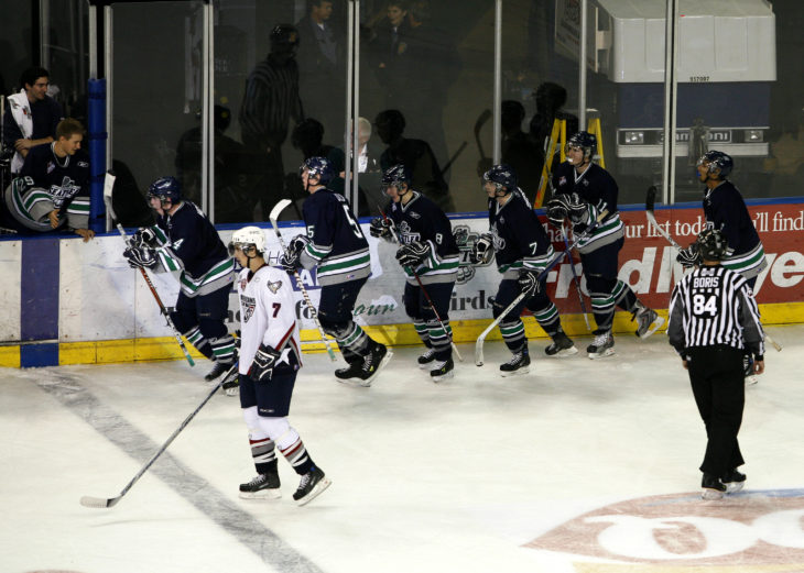 Jason Berger on the bench after the T-Birds scored with the goalie pulled at KeyArena.