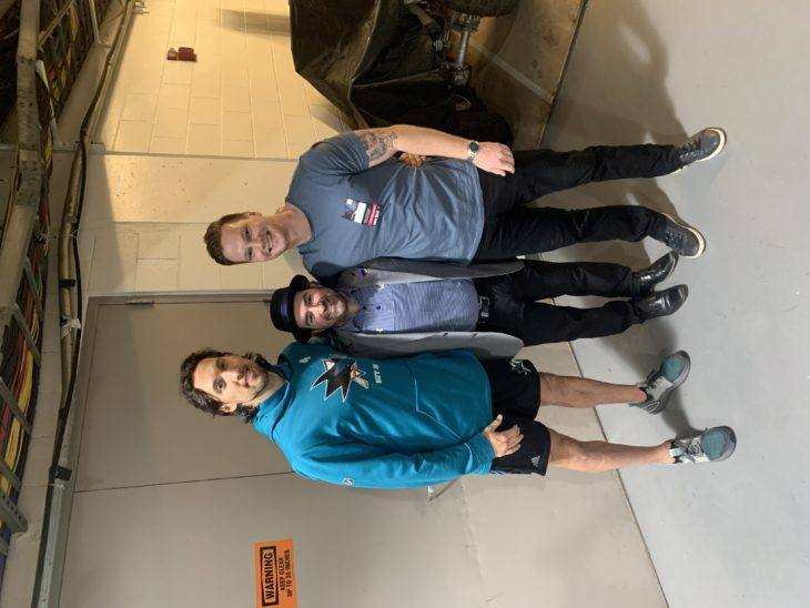 Jason Berger with former T-Birds Brenden Dillon and Tyler Alos at a game in San Jose during the 2019-20 regular season.