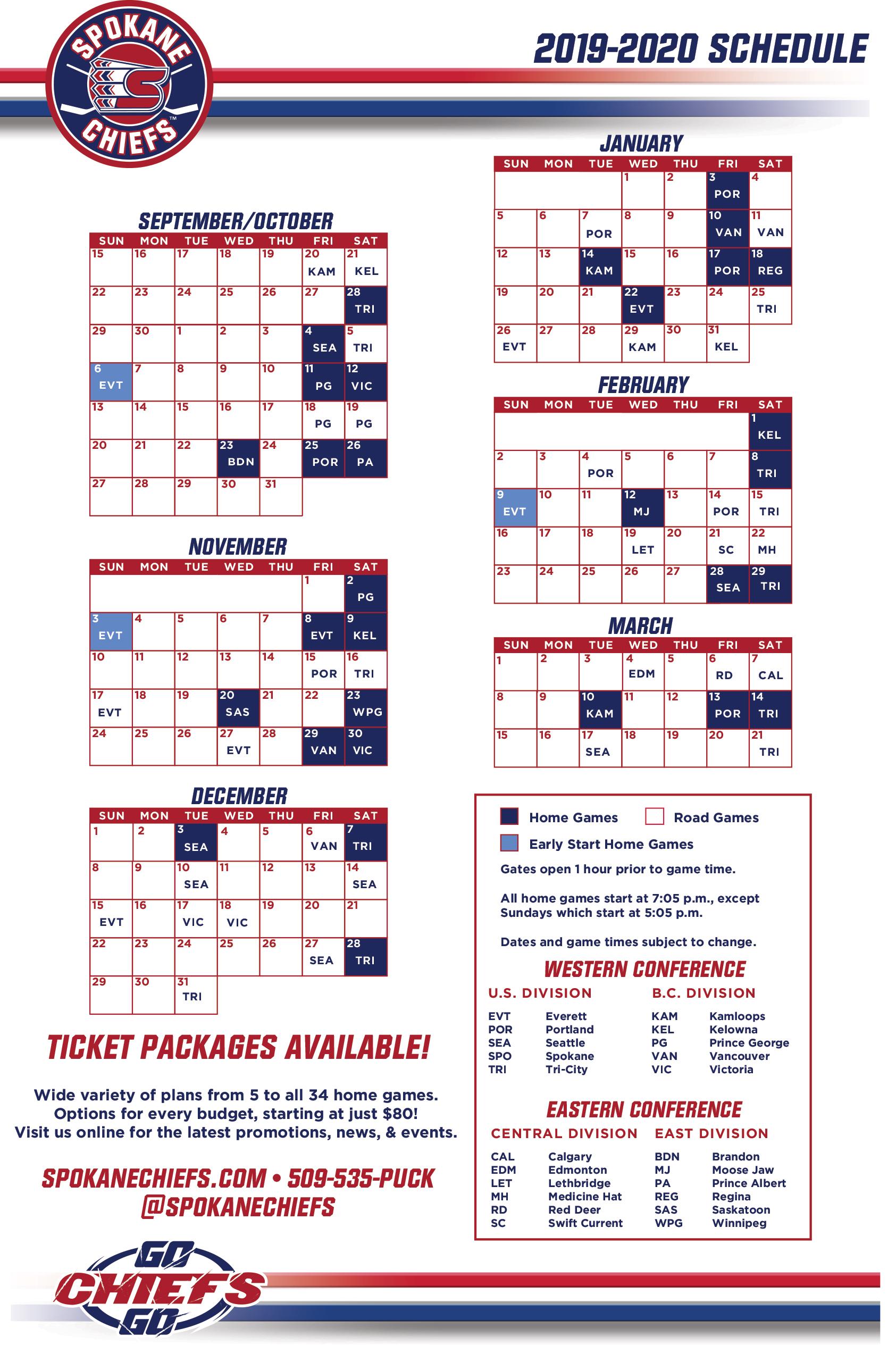Game Schedule Visual Format Spokane Chiefs