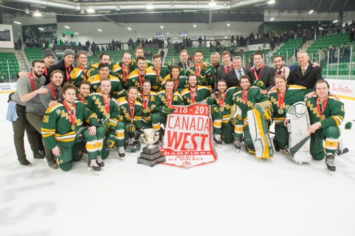 The 2018-19 Dr. W.G. Hardy Trophy winners University of Alberta Golden Bears. Photo By Josh Schaefer/Huskie Athletics/GetMyPhoto.ca