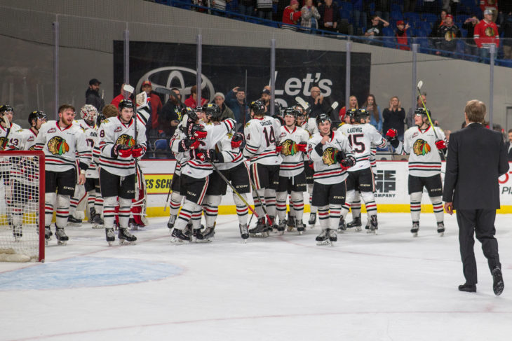 The Portland Winterhawks celebrate their Game 7 victory against the Spokane Chiefs in the first round of the 2018 WHL Playoffs. Photo: Dayna Fjord