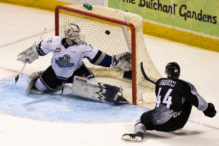 Bowen Byram scores in overtime to cap of the regular season series. Photo: Jay Wallace