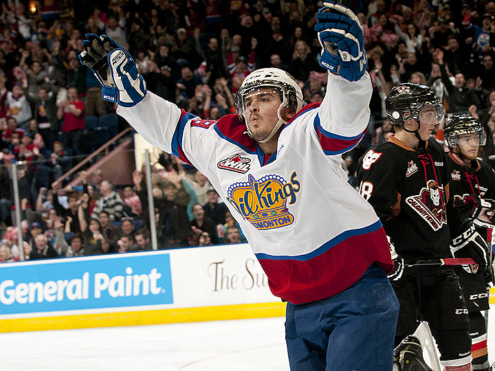 Edmonton Oil Kings forward Michael St. Croix celebrates a goal against the Calgary Hitmen in Game 7 of the 2012 Eastern Conference Championship. Photo: Edmonton Oil Kings