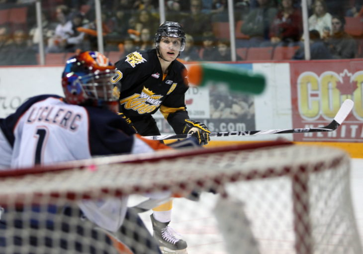 Brandon Wheat Kings Brayden Schenn watches his shot as the puck flies top-shelf into the net knocking Kamloops Blazers goalie Justin Leclerc's water bottle into the air during second period WHL action at Westman Place in Brandon on Saturday, October 17, 2009. THE CANADIAN PRESS/Brandon Sun-Tim Smith